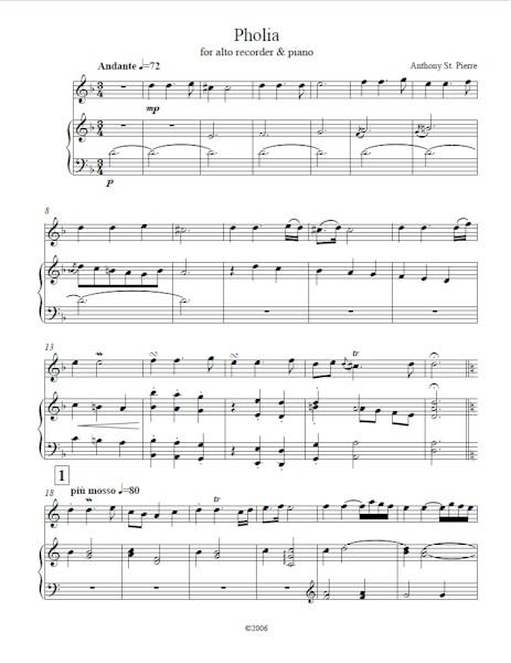 Pholia for alto recorder and piano