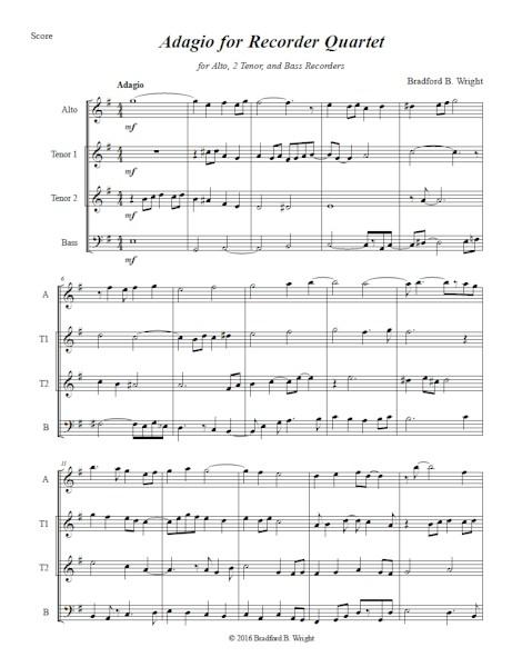 Adagio for Recorder Quartet
